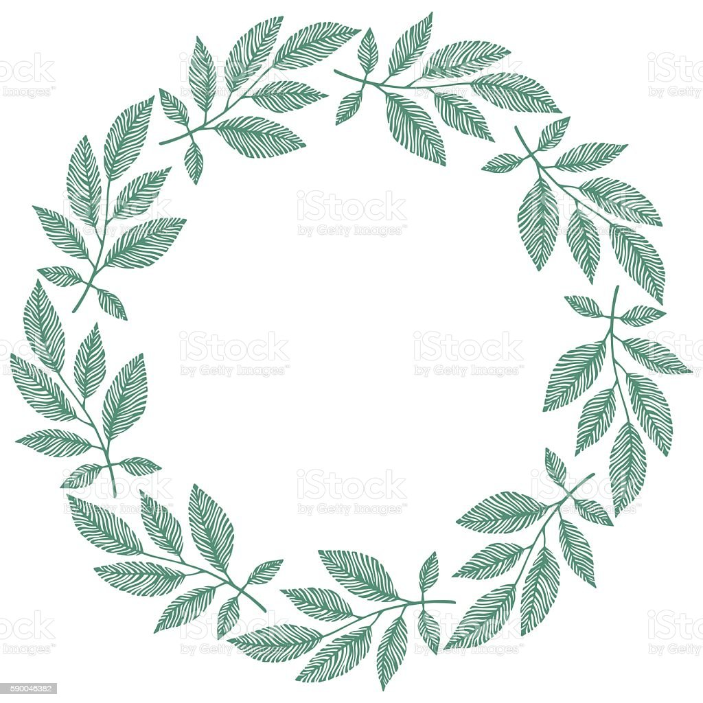 Round frame with decorative branch vector illustration stock - Vector Circle Frame Wreath Made Of Branches Circle Decoration Royalty Free Stock