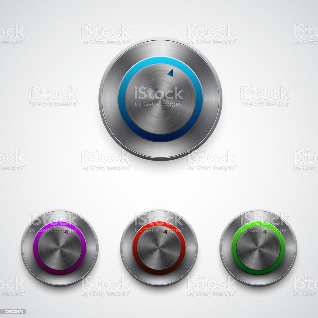 Vector circle regulator button, color set vector art illustration