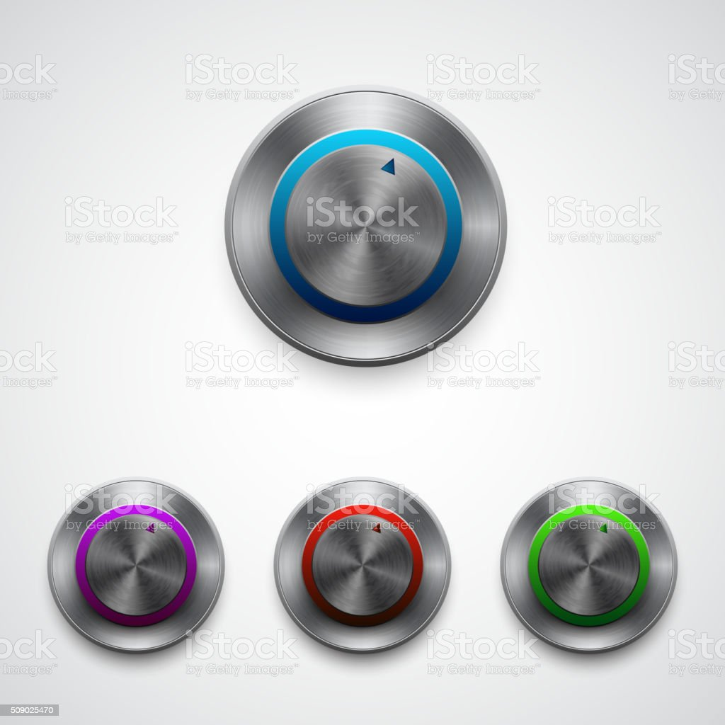 Vector circle regulator button, color set vector art illustration
