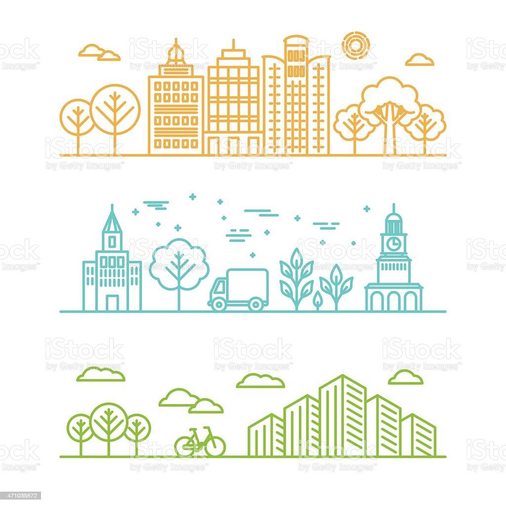 Vector city illustration in a linear style vector art illustration
