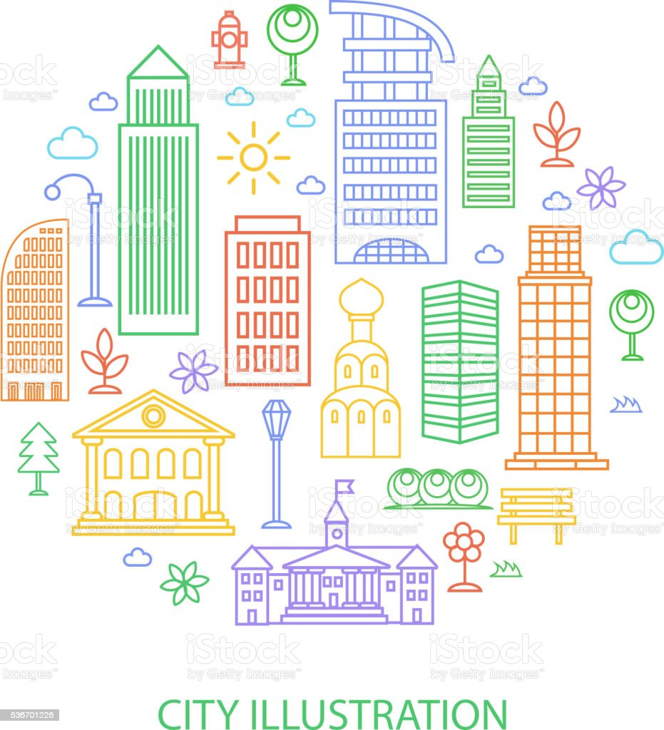 Vector city illustration in linear style, buildings and clouds vector art illustration