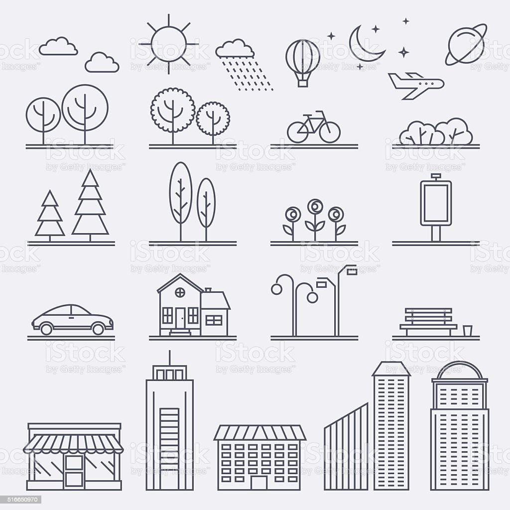 Vector city illustration in linear style. Icons and illustration vector art illustration