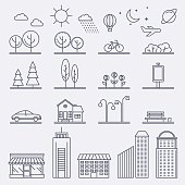 Vector city illustration in linear style. Icons and illustration