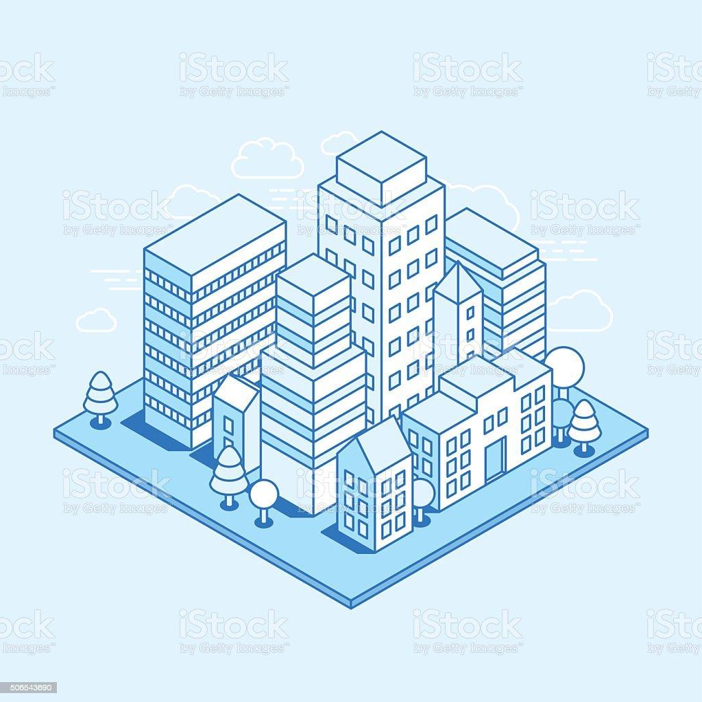 Vector city landscape isometric illustration vector art illustration