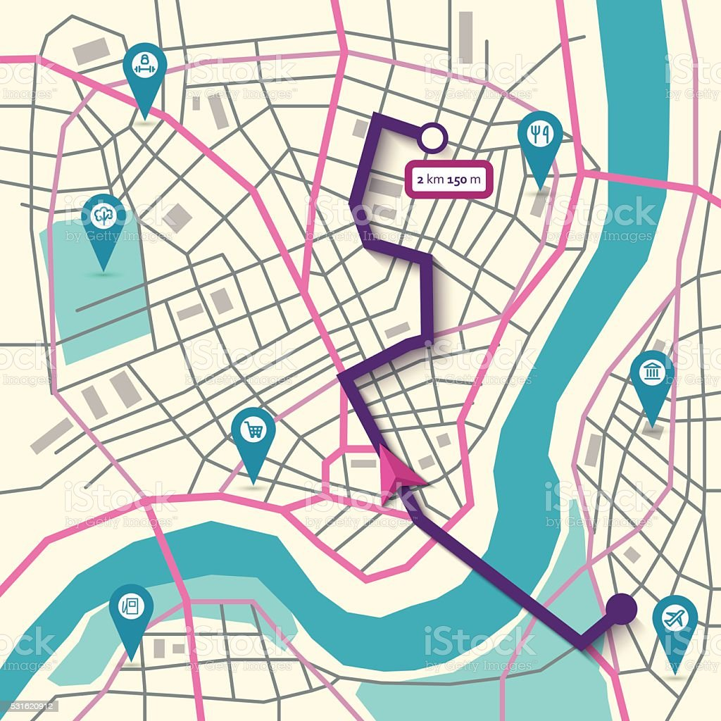 Vector city map navigation vector art illustration