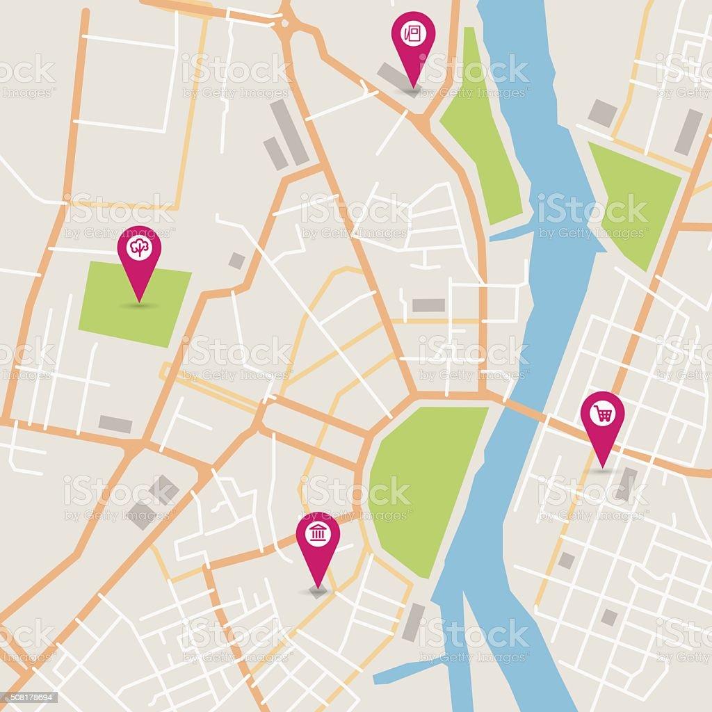 Vector city map vector art illustration
