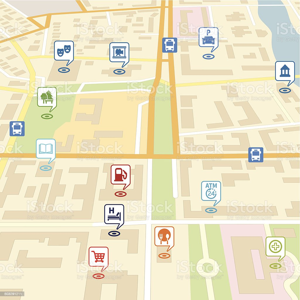 Vector city map with pin location pointers vector art illustration