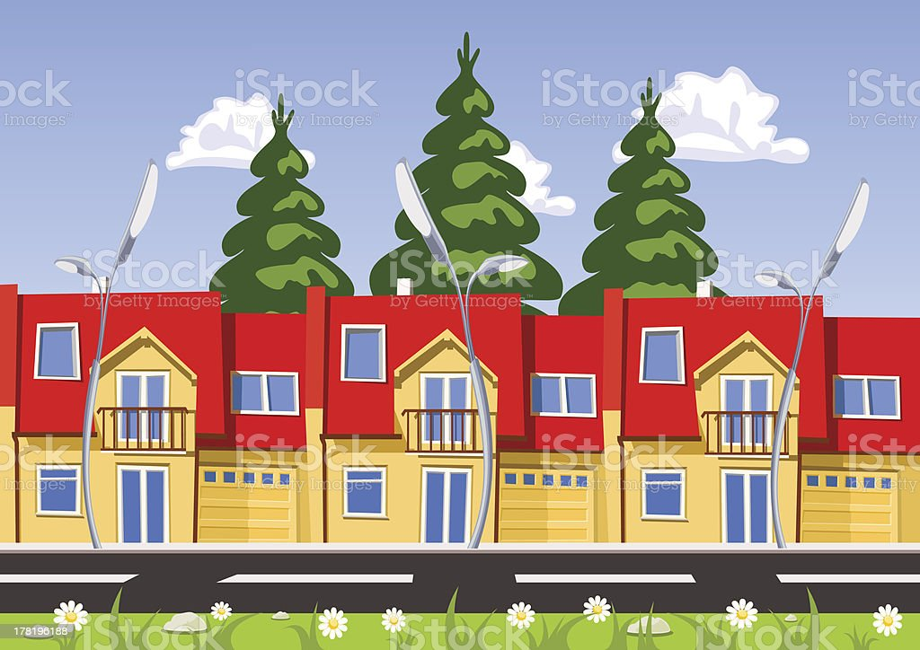 Vector city, row building. Illustration royalty-free stock vector art
