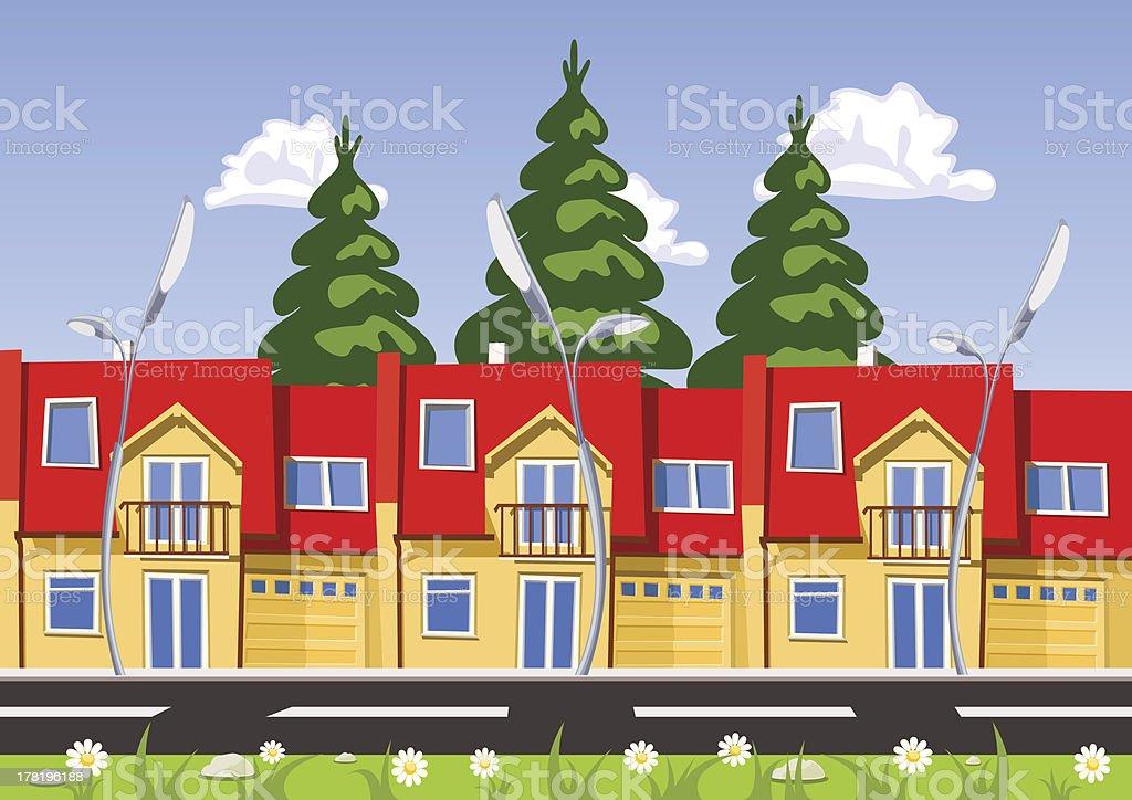 Vector city, row building. Illustration royalty-free stock vector art