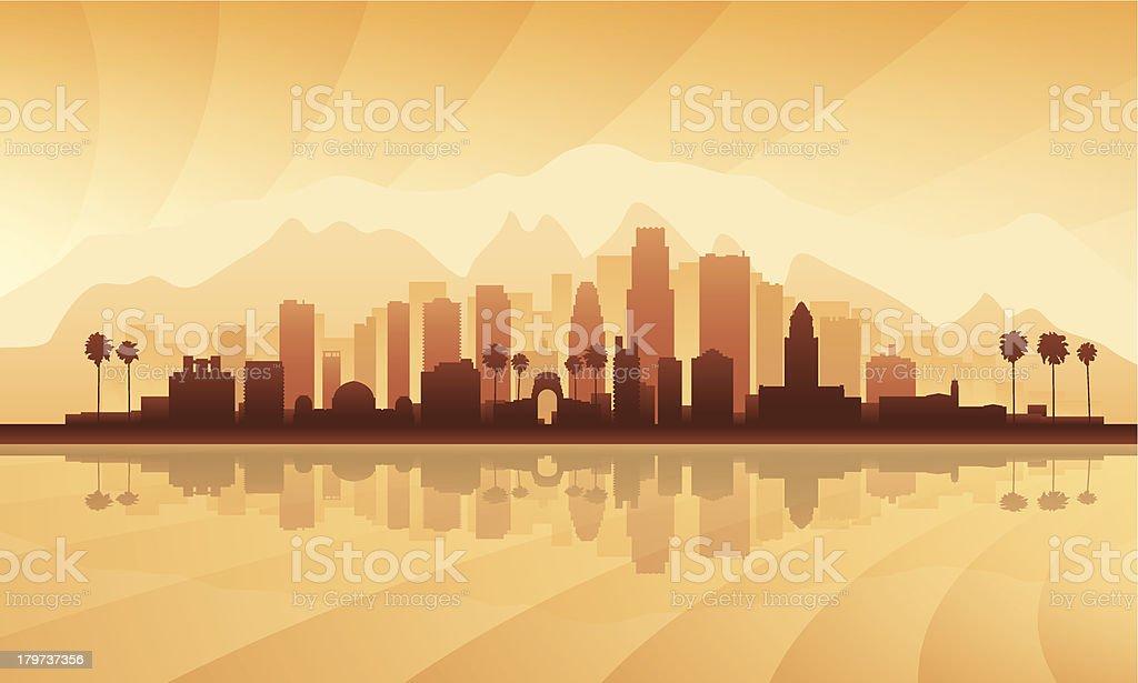 Vector city skyline in orange silhouette vector art illustration