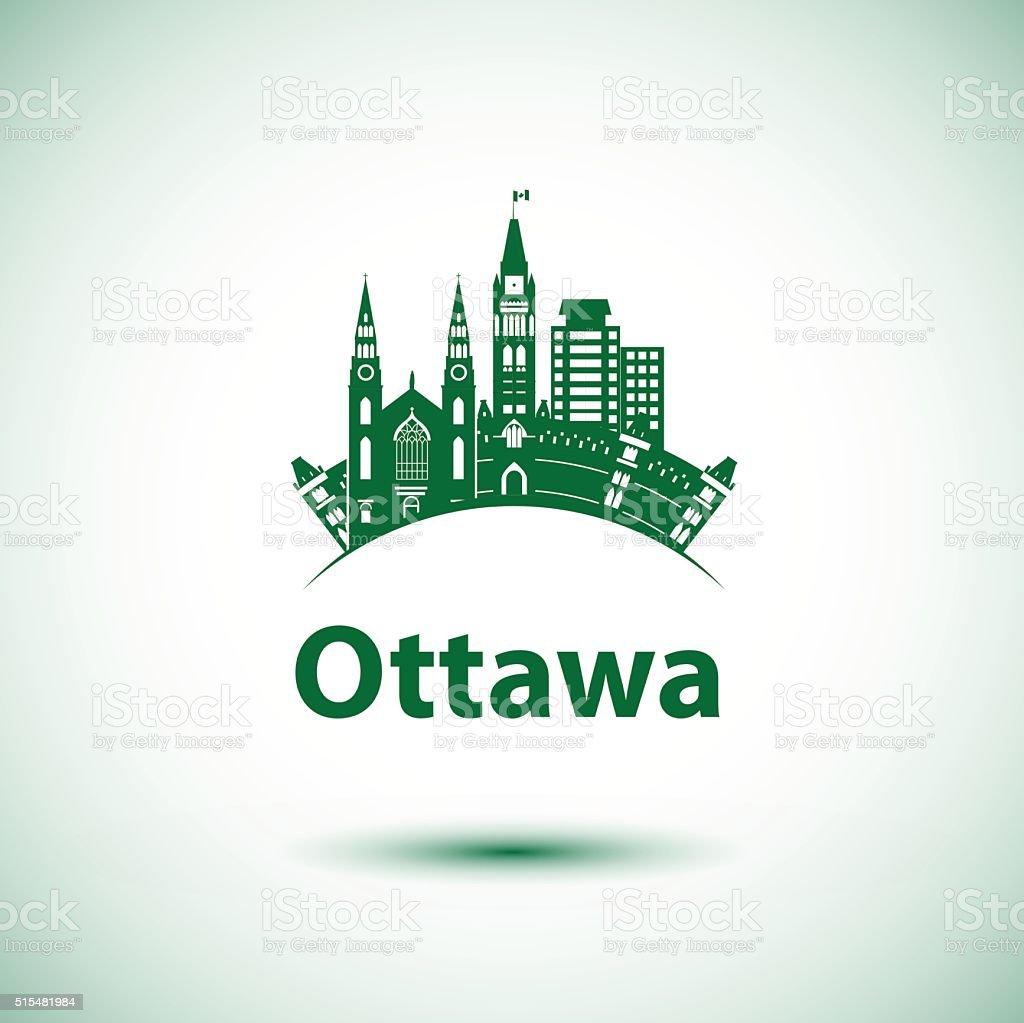 Vector city skyline with landmarks Ottawa Ontario Canada vector art illustration