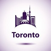 Vector city skyline with landmarks Toronto Ontario Canada.