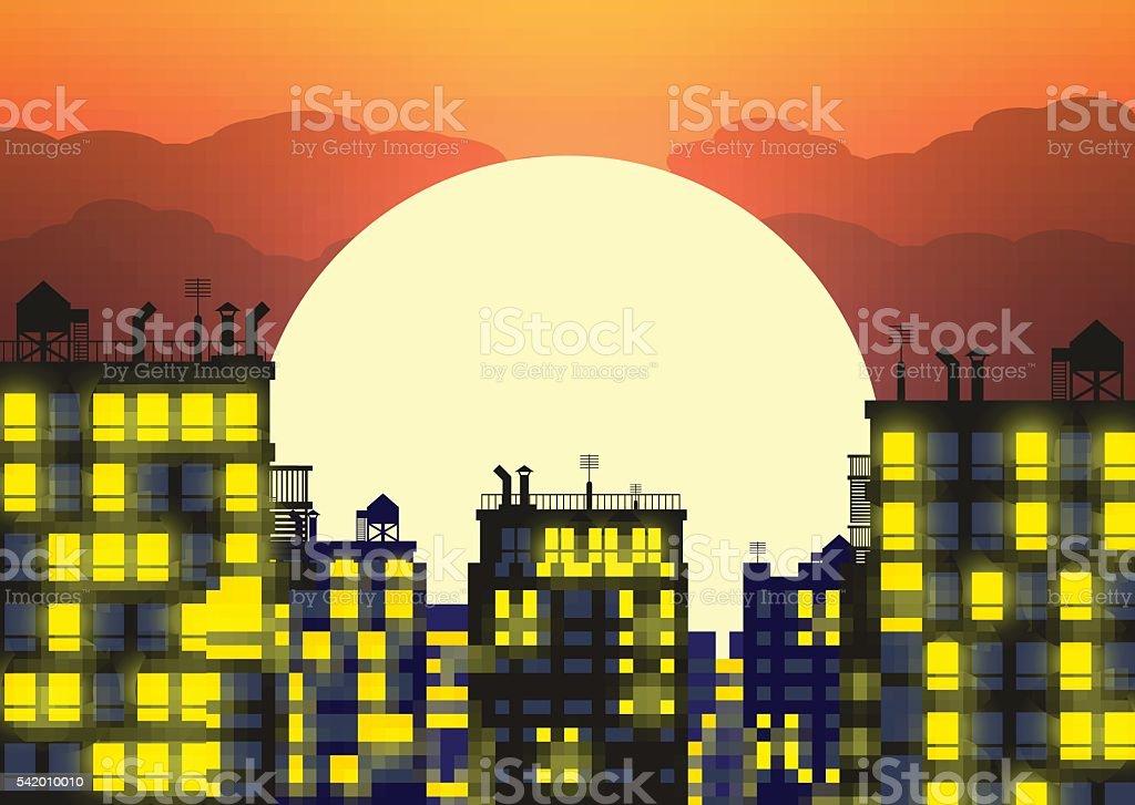 vector city skylines in late evening vector art illustration