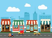 Vector city street with shop