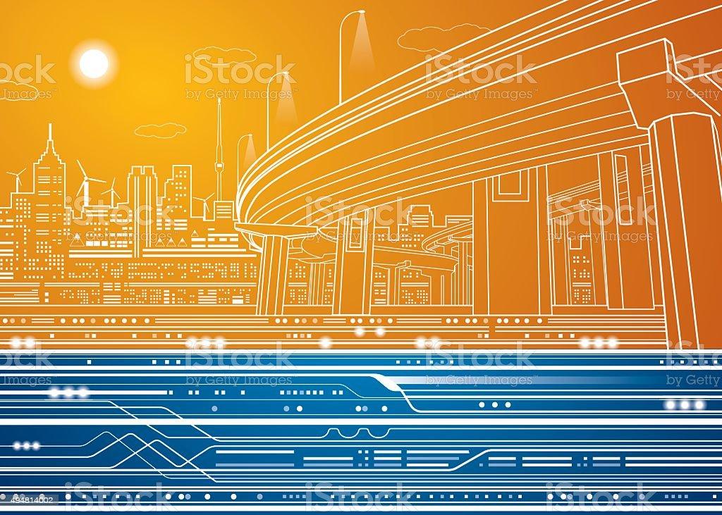 Vector city, vector lines overpass, bridge vector art illustration