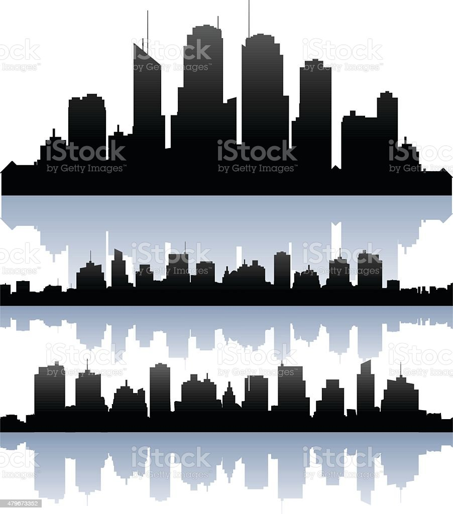 Vector cityscape skyline buidlings silhouette vector art illustration