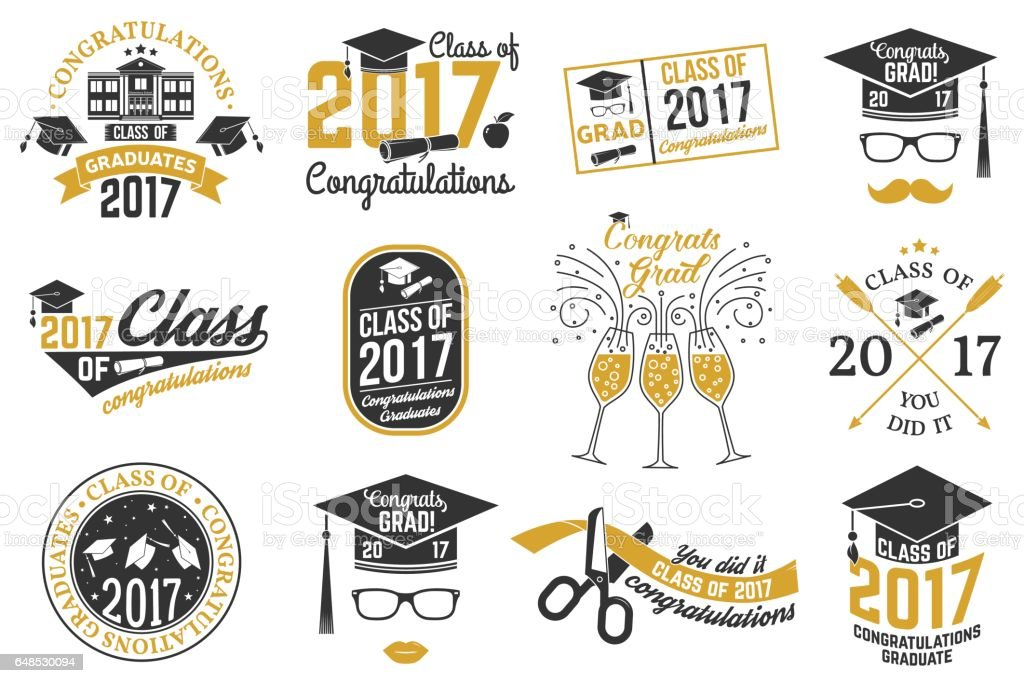 Vector Class of 2017 badge vector art illustration