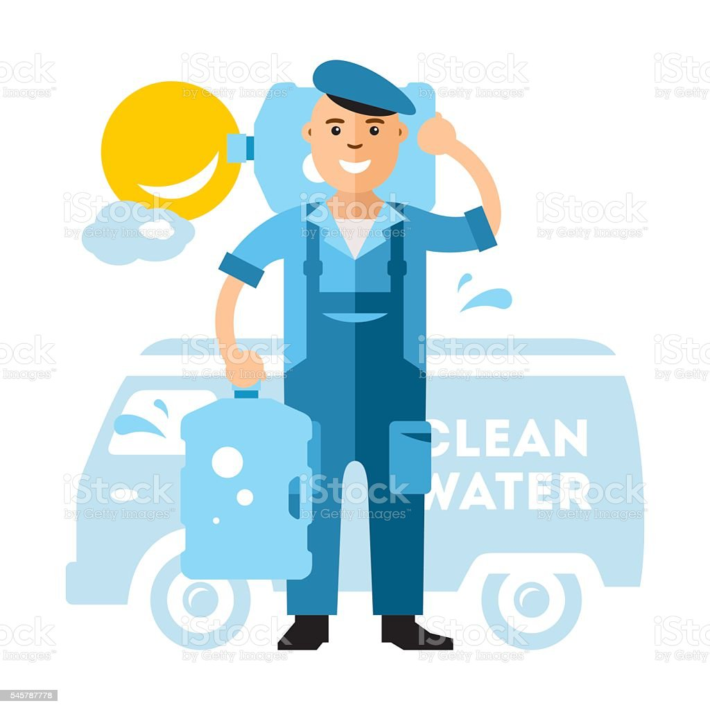 Vector Clean Water delivery. Flat style colorful Cartoon illustration. vector art illustration