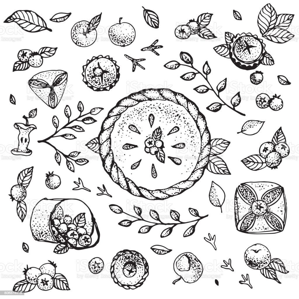 Vector clipart with blueberries, cakes, pie, leaves, bird tracks and apples. black and white. vector art illustration