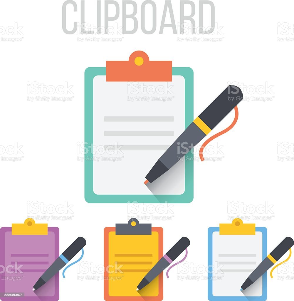Vector clipboard icons vector art illustration