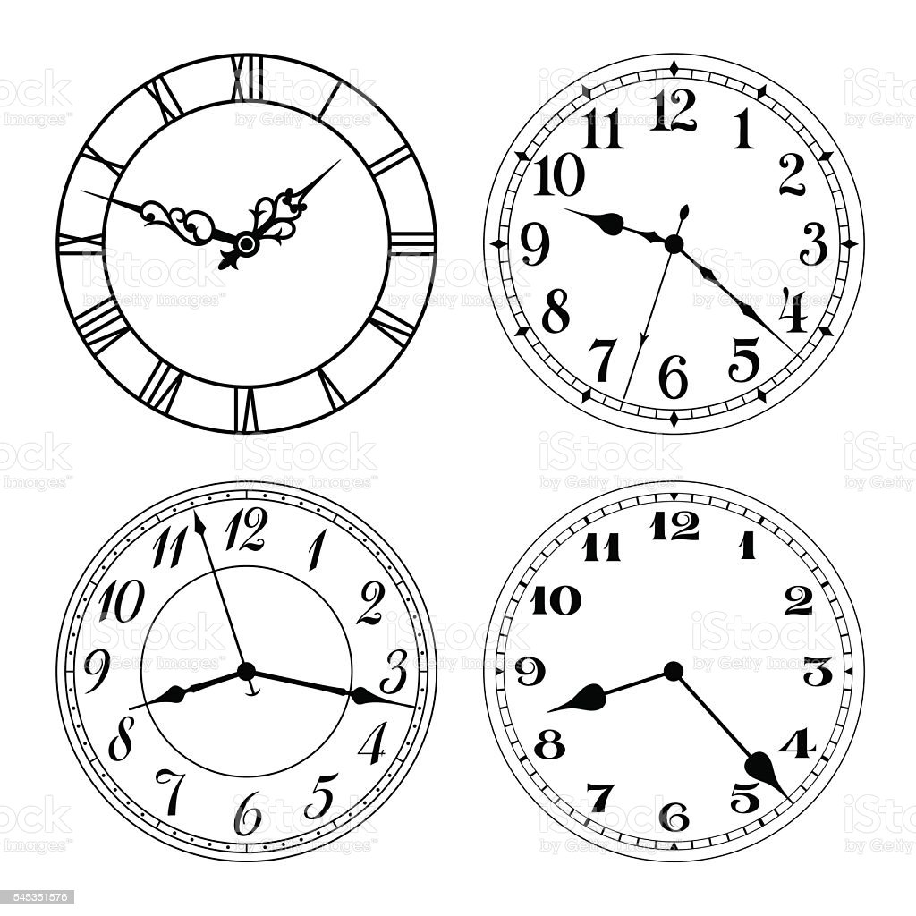 Vector clock faces in black and white. vector art illustration