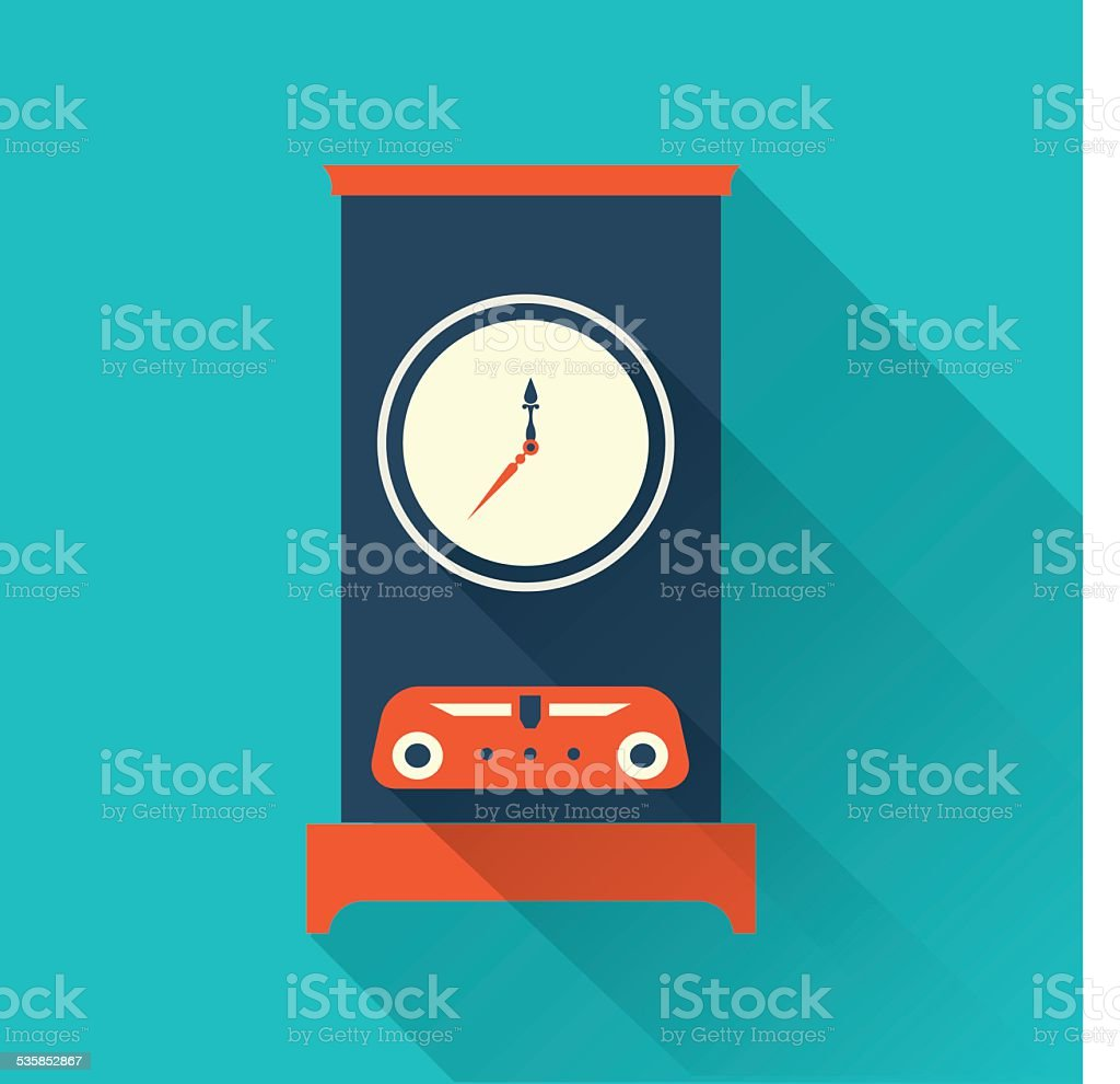 Vector clock icon flat style vector art illustration