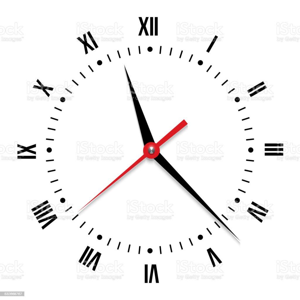 Vector clock on white background vector art illustration