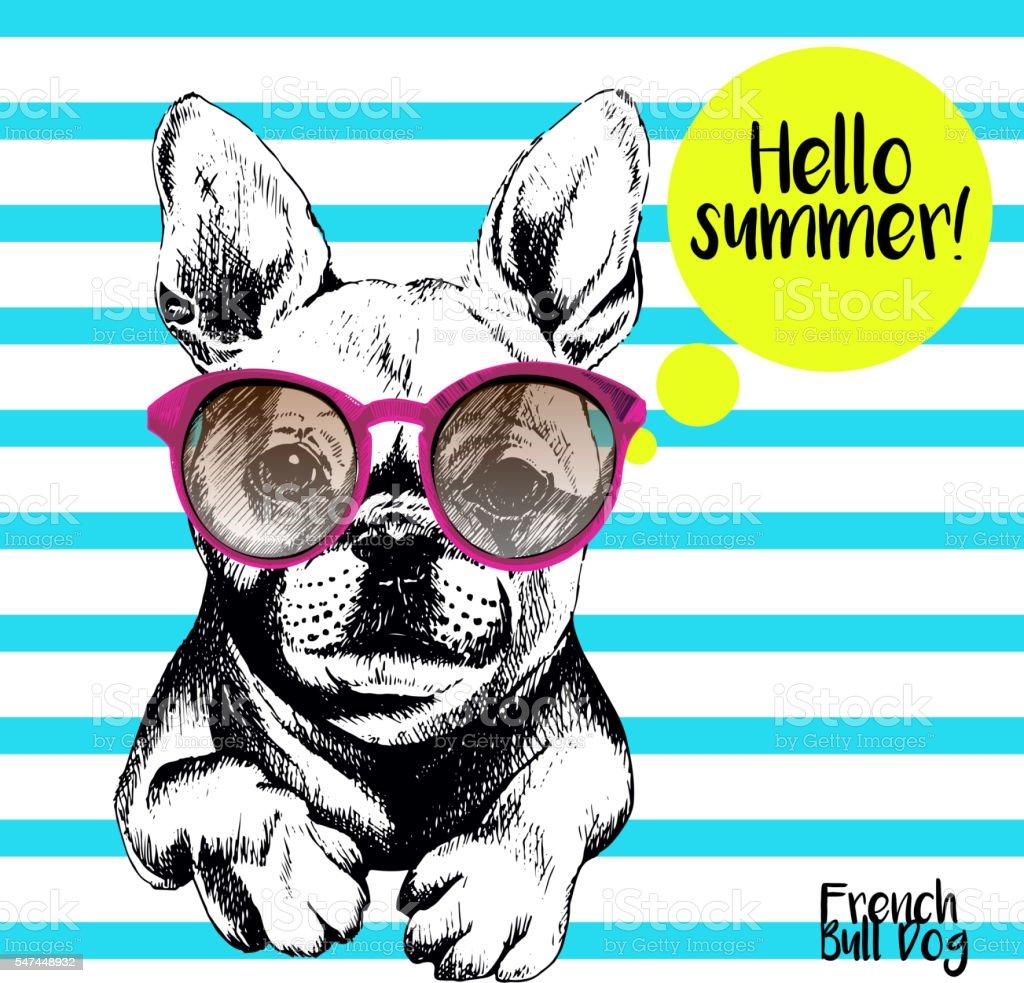 Vector close of french bulldog wearing the sunglassess. vector art illustration