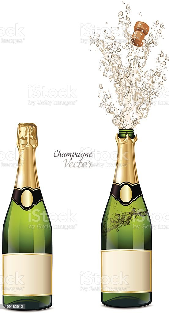 Vector closed and explosion bottles of champagne vector art illustration