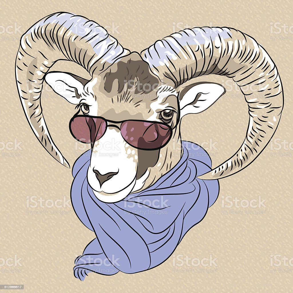 vector closeup portrait of funny Alpine ibex vector art illustration