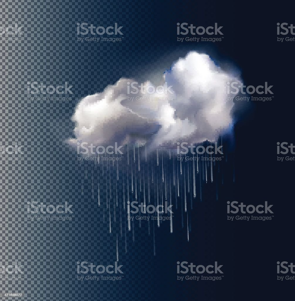 Vector cloud and rain vector art illustration
