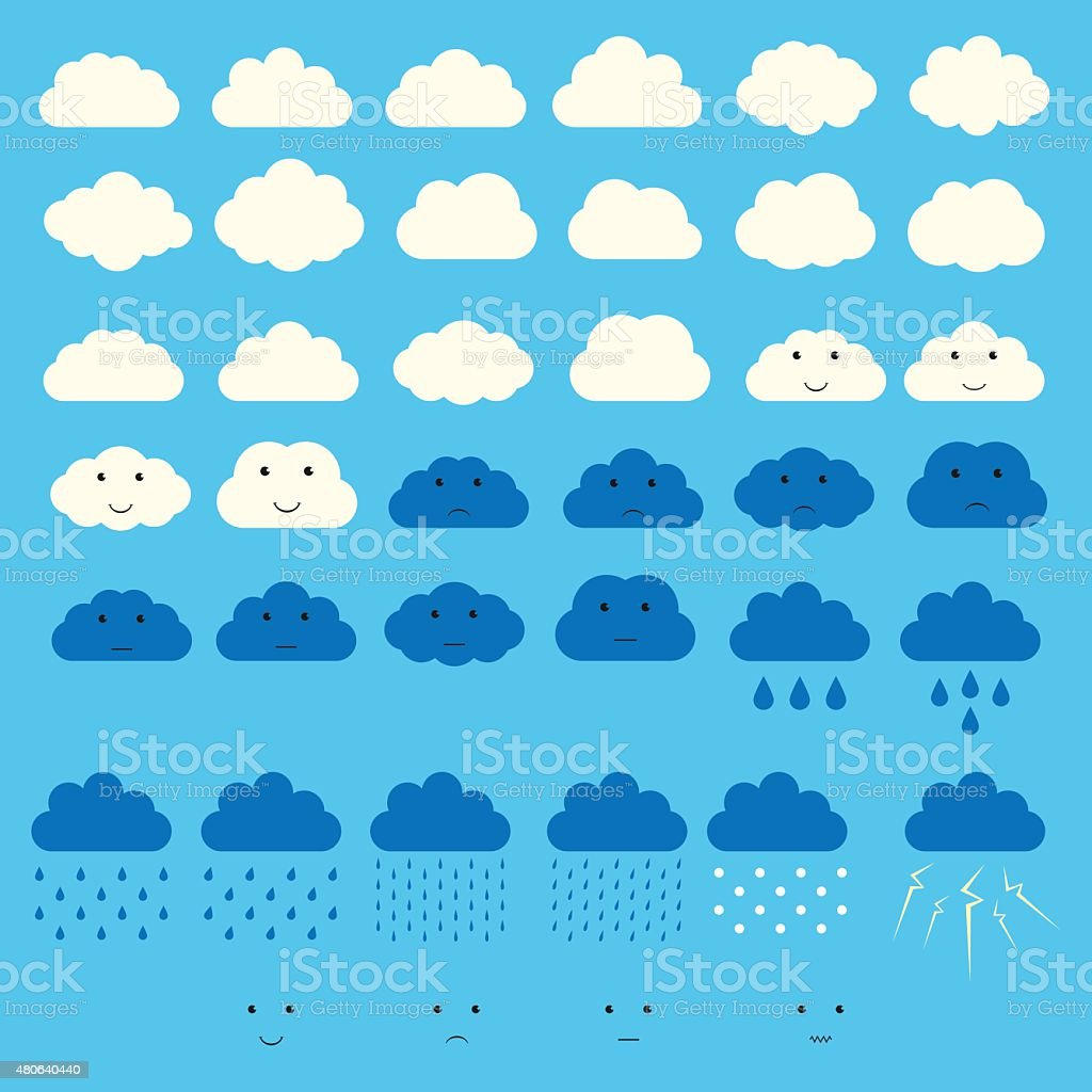 Vector clouds collection vector art illustration