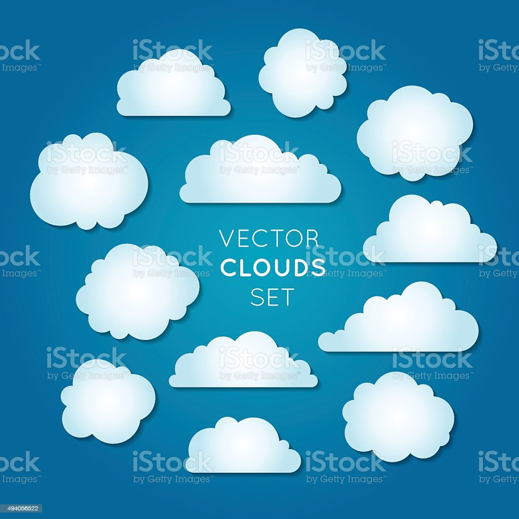 Vector clouds set vector art illustration