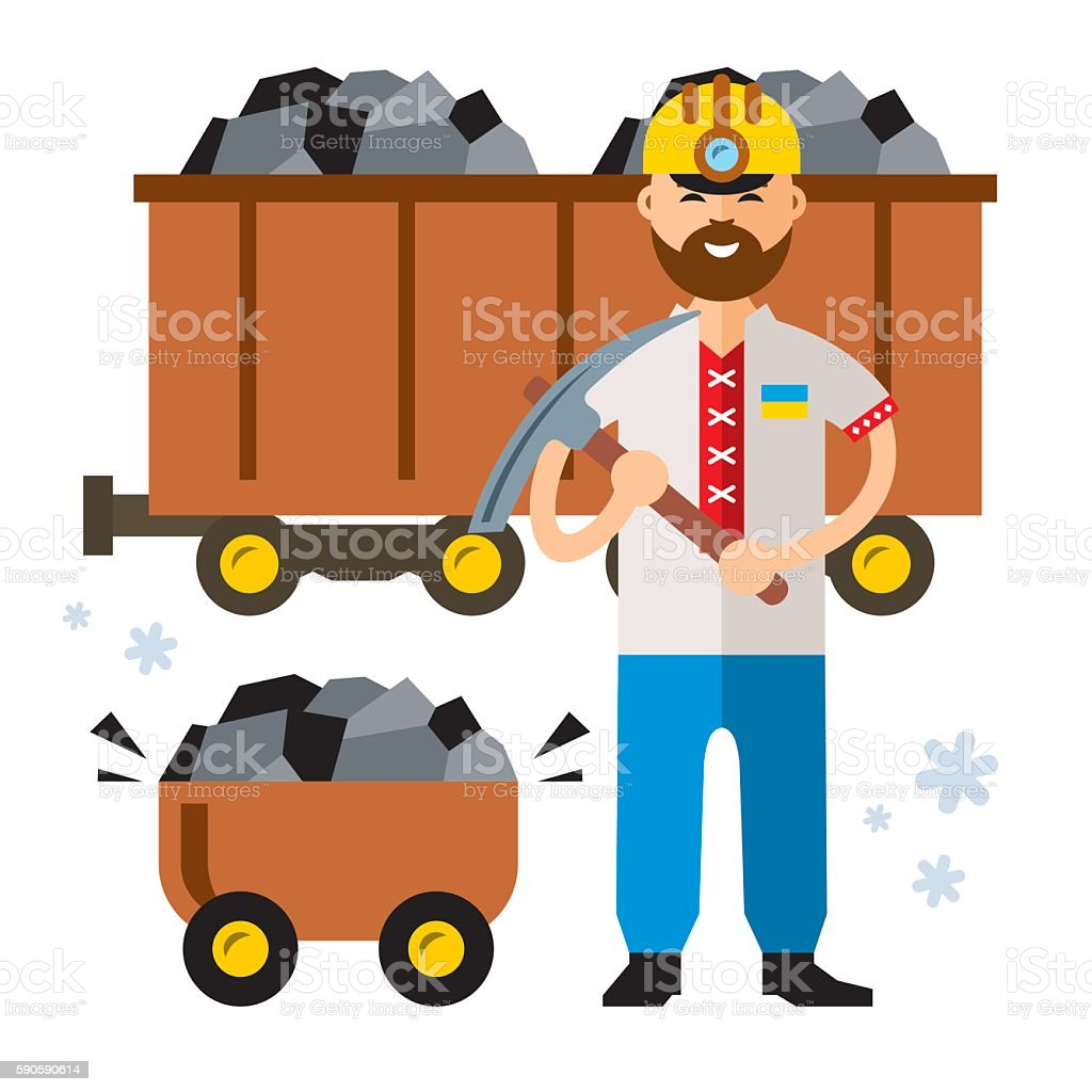 Vector Coal Industry of Ukraine. Flat style colorful Cartoon illustration. vector art illustration