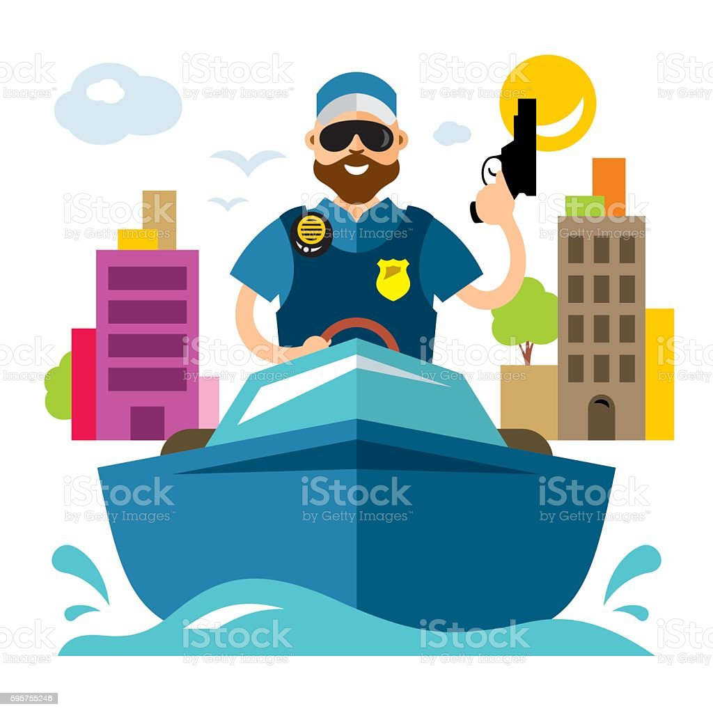 Vector Coast guard. Flat style colorful Cartoon illustration. vector art illustration