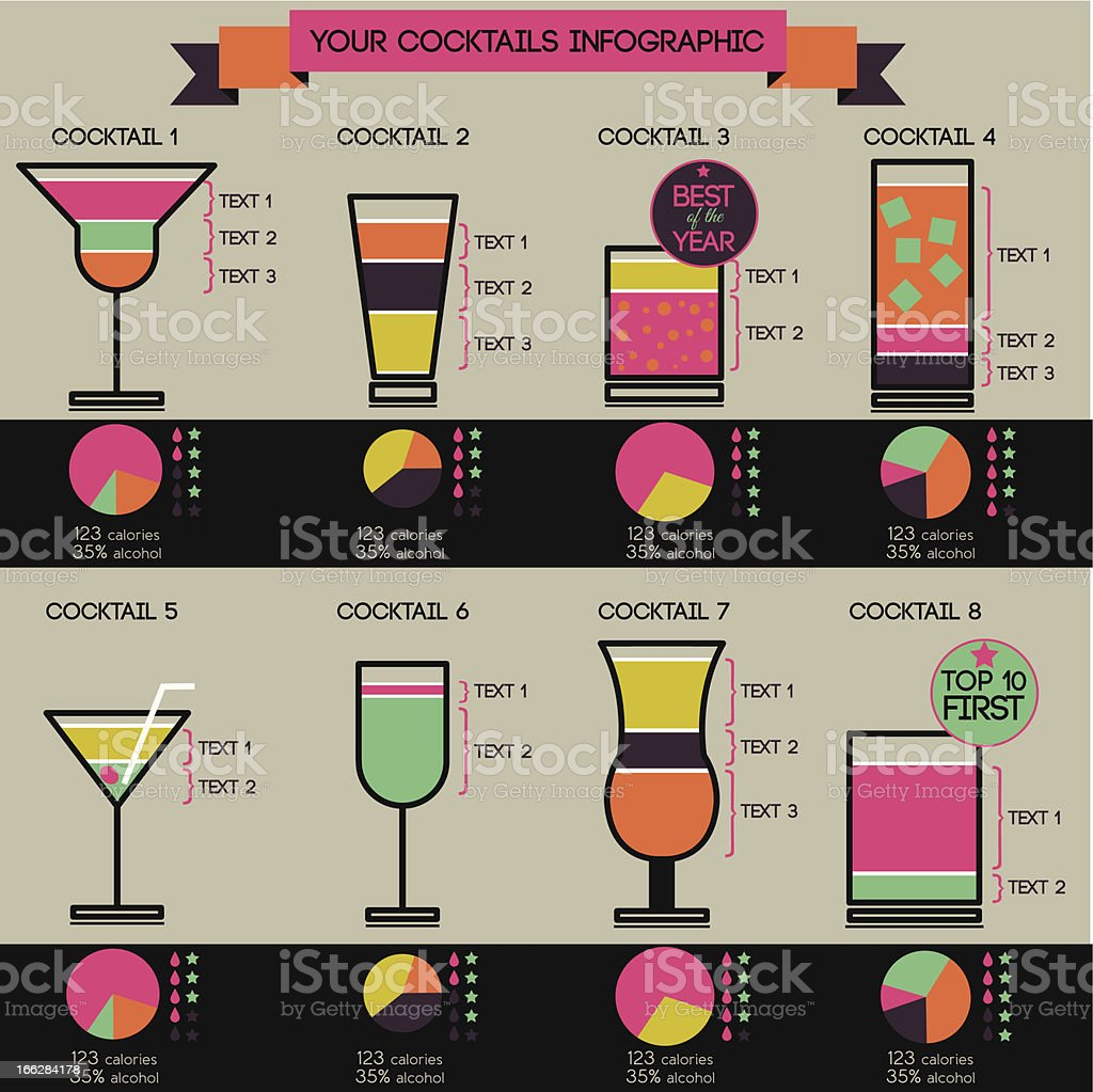 Vector cocktail infographic - set of 8 cocktails royalty-free stock vector art