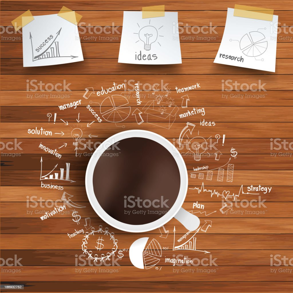 Vector coffee cup and business strategy on wooden table vector art illustration