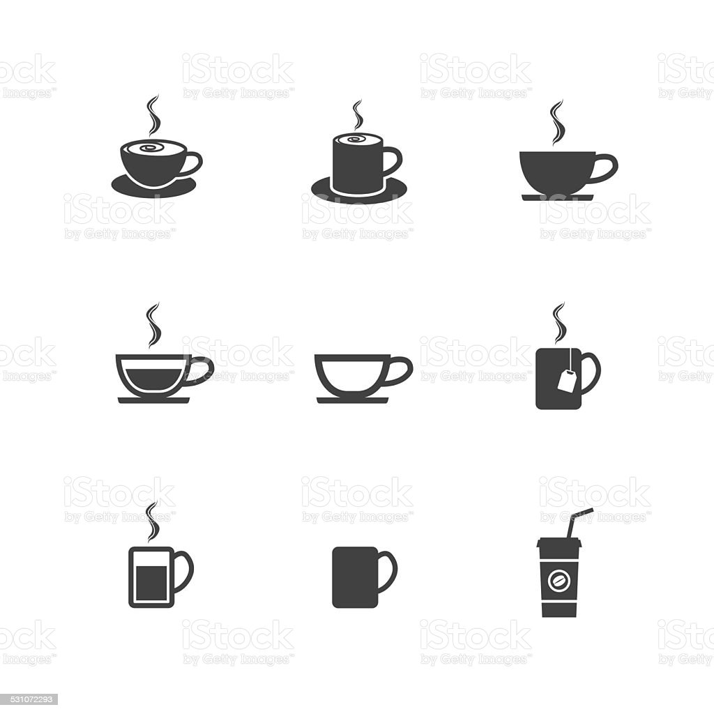 Vector Coffee Cup and Tea Cup Icons Sign and Symbol vector art illustration