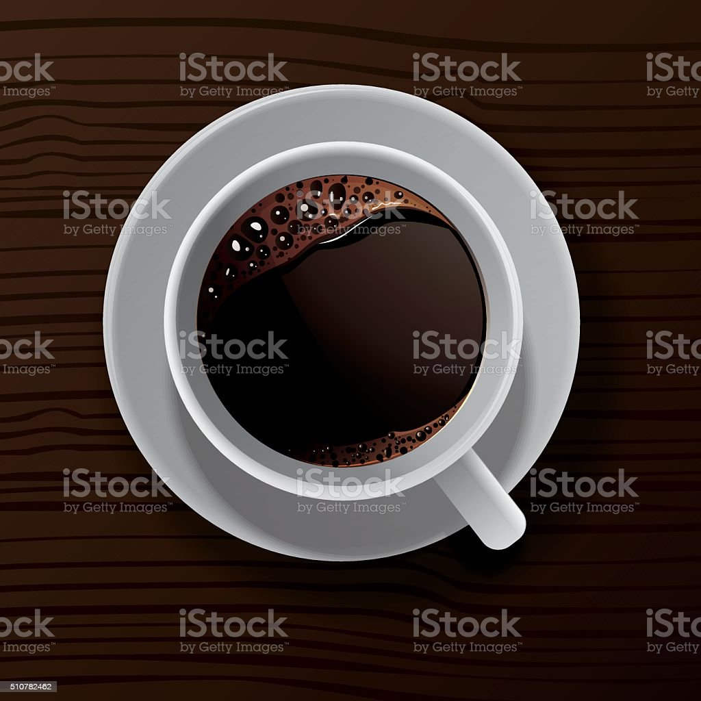 Vector coffee cup on wooden table. vector art illustration