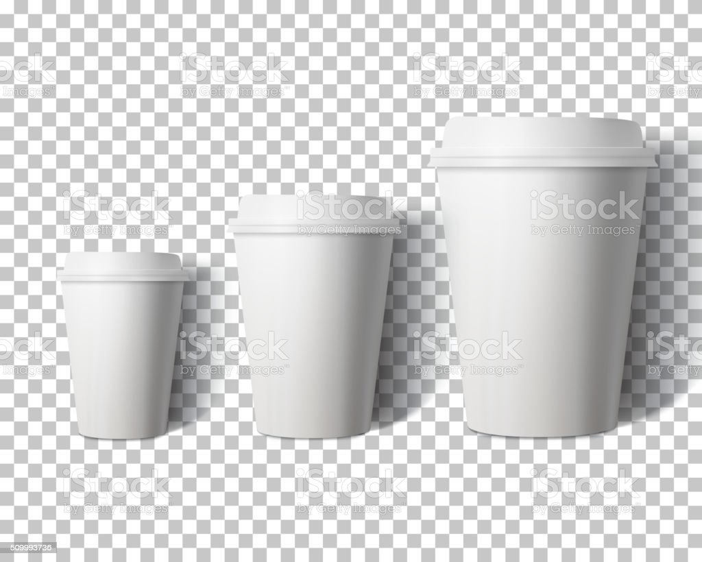 Vector Coffee Cup Set Isolated on Transparent PS Style Backgroun vector art illustration