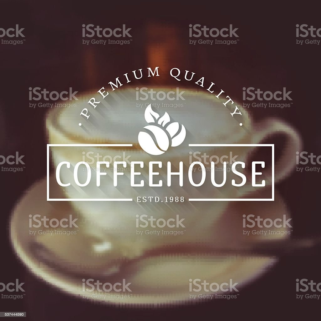 Vector coffee house logos on blurred background. vector art illustration
