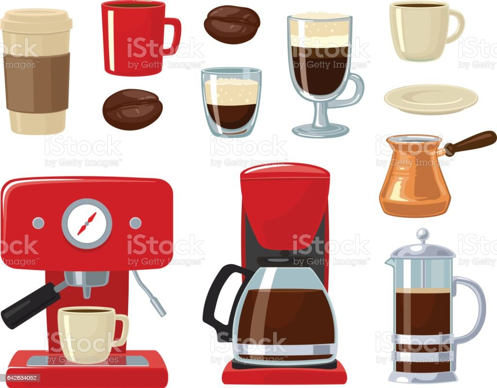 Vector coffee icon set isolated on white background. Coffee maker, take away, coffee machine, cezve or turkish, coffee pot, french press, beans, saucer, cup. For web, poster, menu, cafe and restaurant. vector art illustration