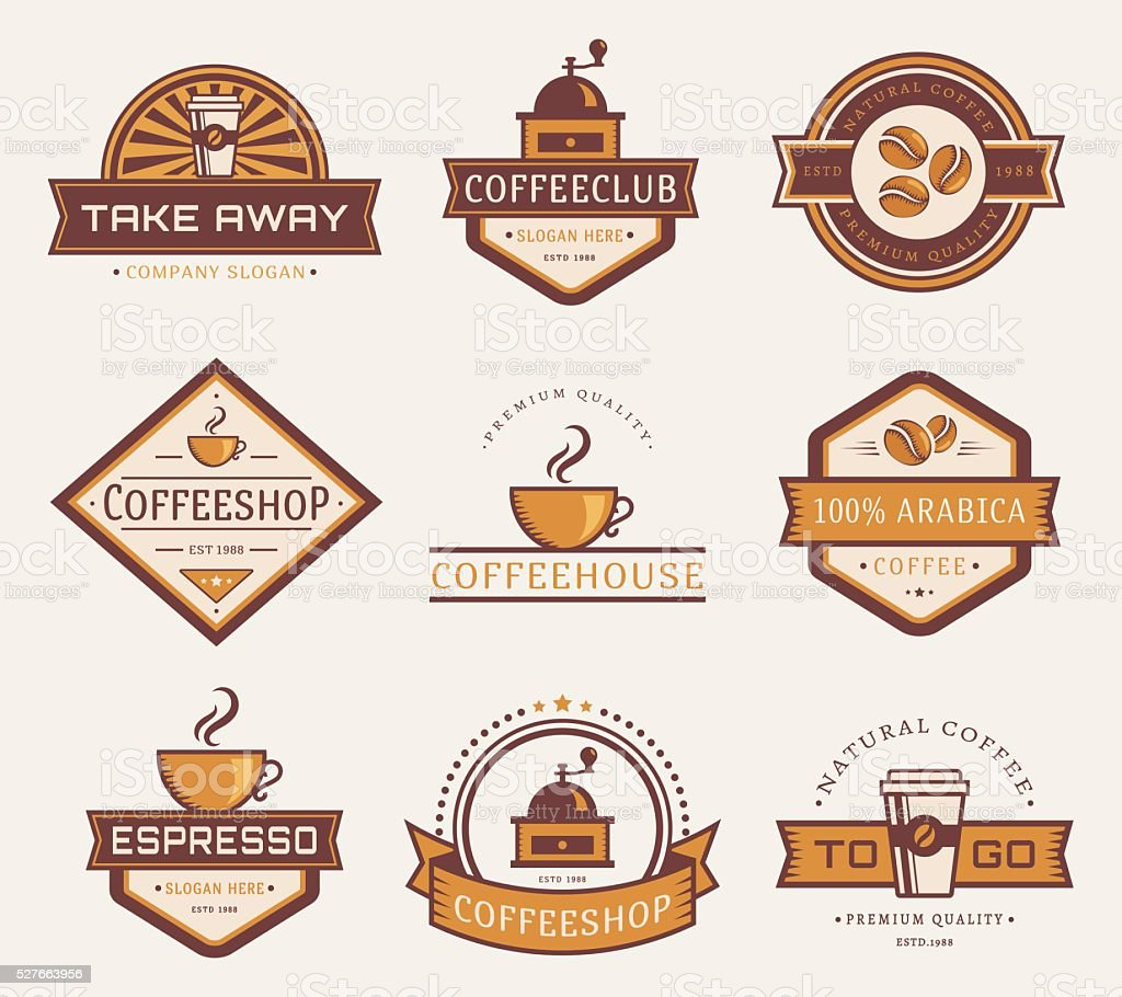 Vector coffee logos. vector art illustration