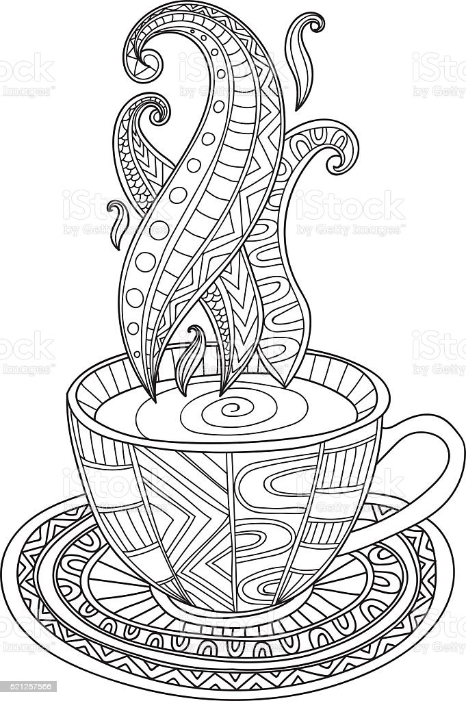 Vector coffee or tea cup with abstract ornaments vector art illustration