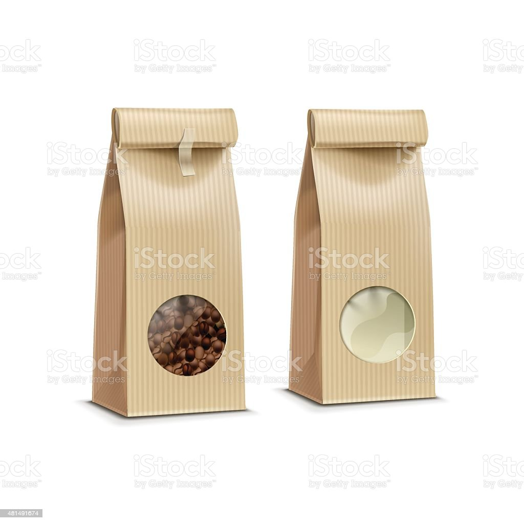 Vector Coffee Packaging Package Bag Isolated on White Background vector art illustration