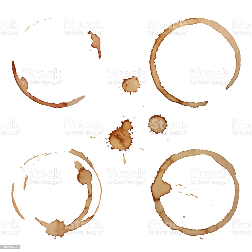 Vector Coffee Stain Rings Set Isolated On White Background vector art illustration