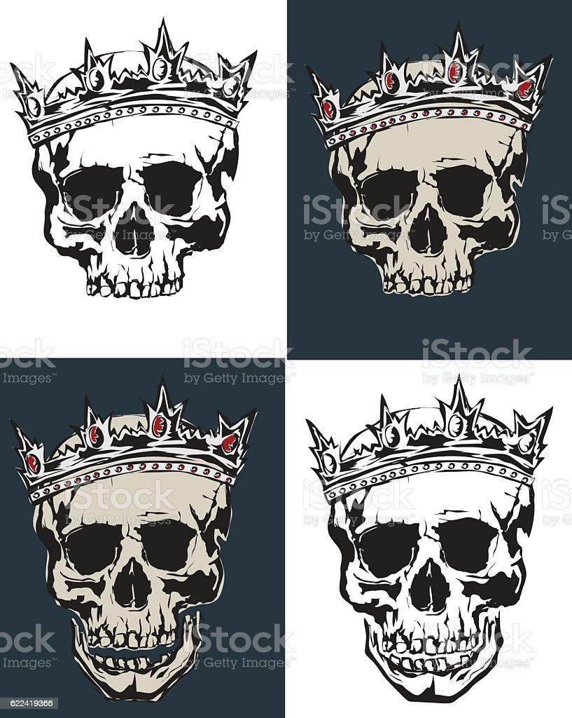 Vector collection grunge human skulls on light and dark background vector art illustration