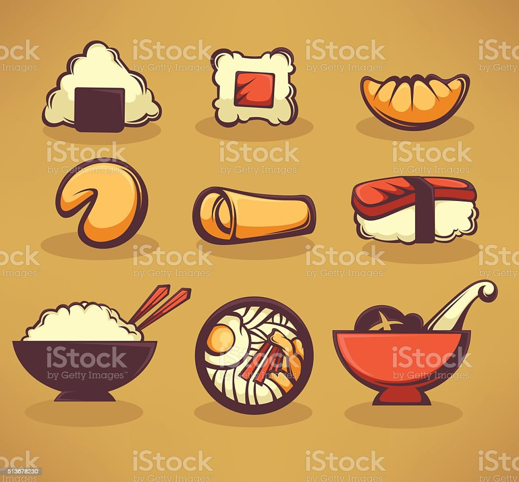 vector collection of asian food vector art illustration