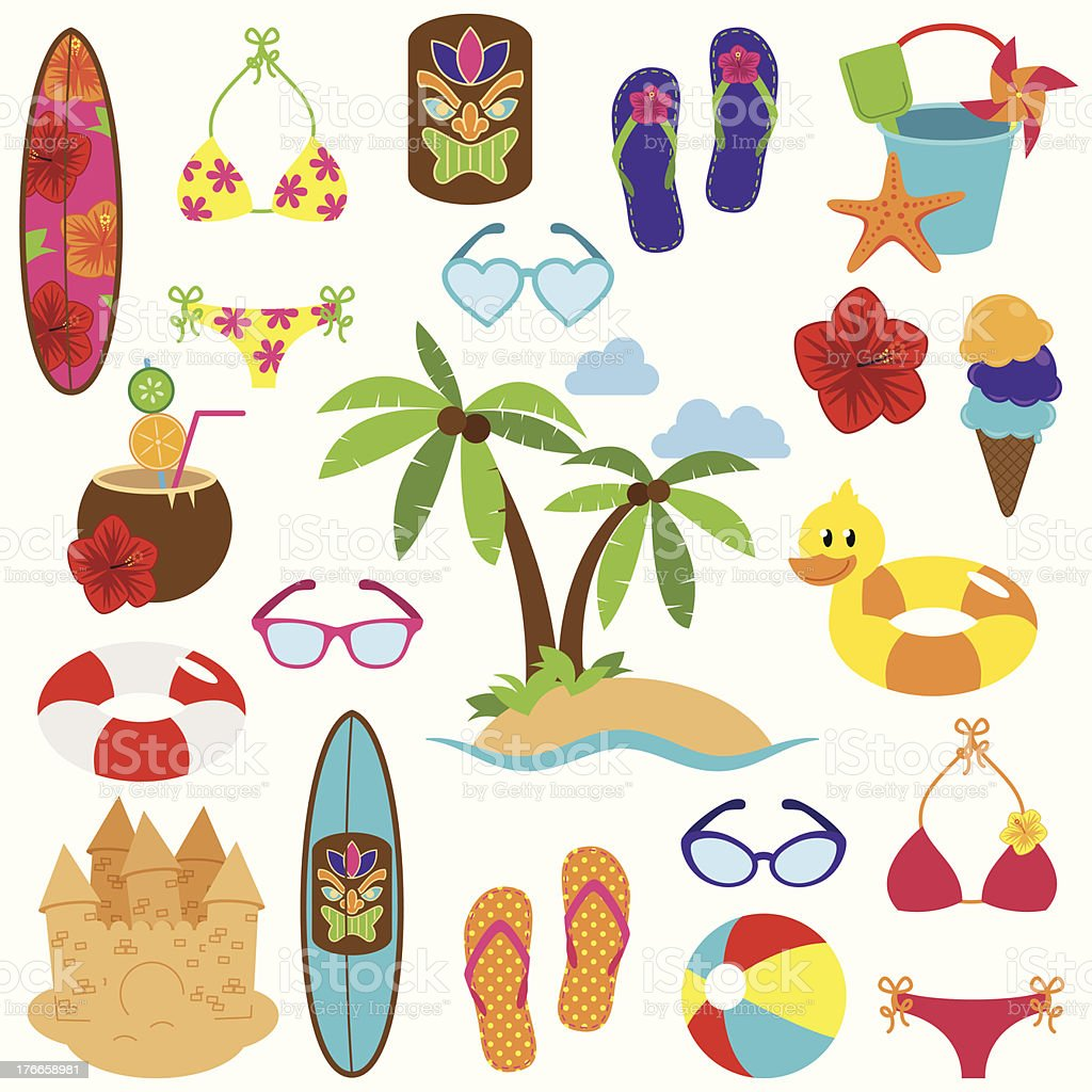 Vector Collection of Beach and Vacation Themed Objects vector art illustration