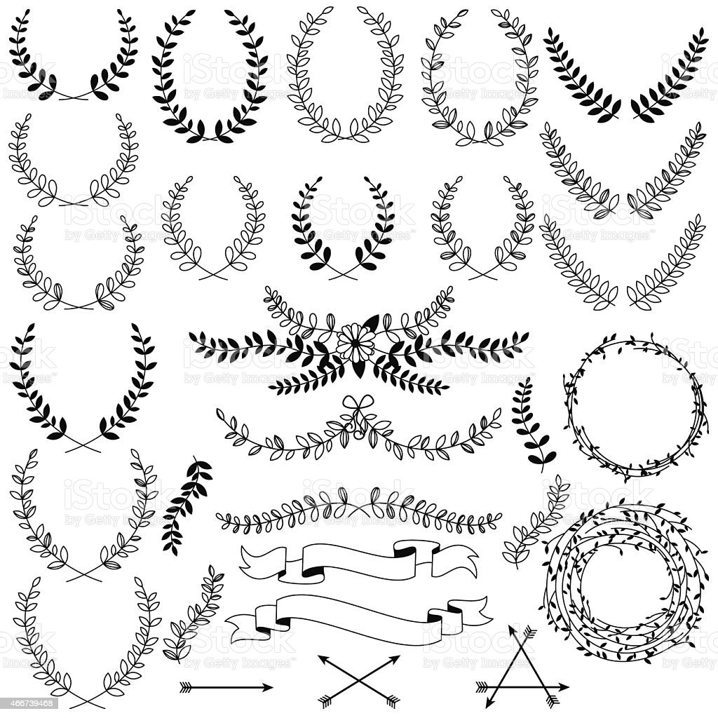 Vector Collection of Black Line Laurels, Floral Elements and Banners vector art illustration